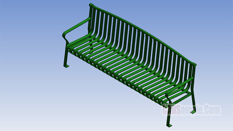 Park Bench Archback Metal Revit Model