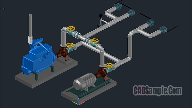Water Pump Connection 3D Cad Drawings