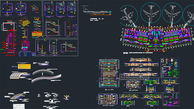 Airport Architecture Topological Full DWG Project