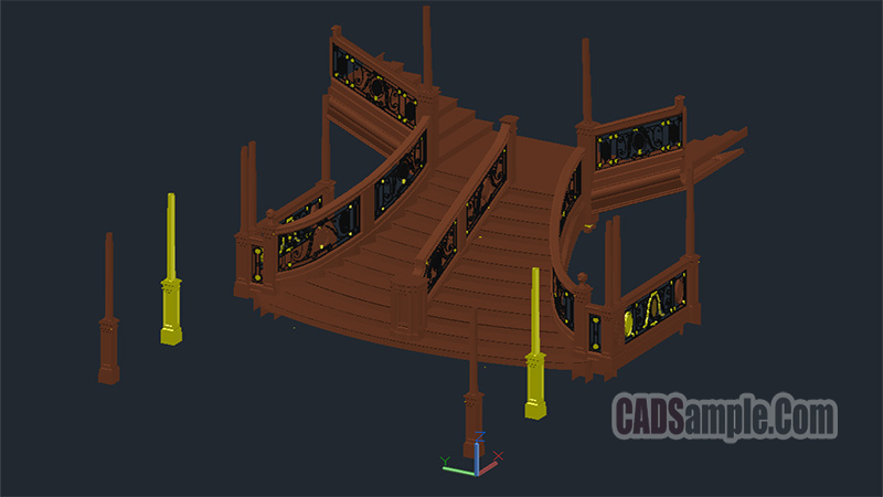 Titanic Deck İnterior Stairwell 3D Model