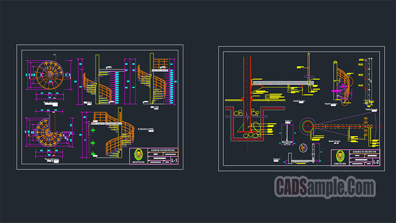 Spiral Staircase Details Autocad Dwg