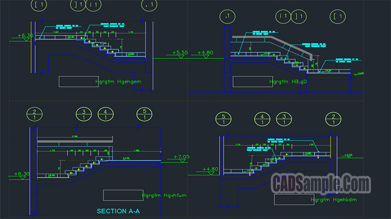 Building Stairs Details Autocad Drawings