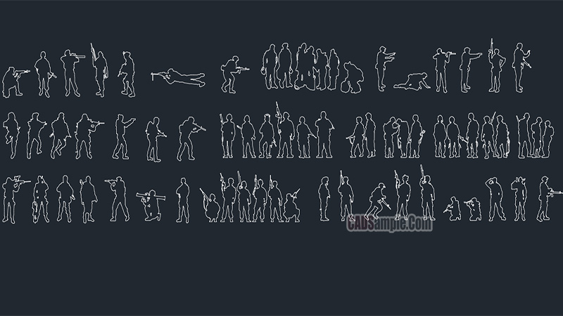 People Silhouettes Soldiers Free Cad Blocks
