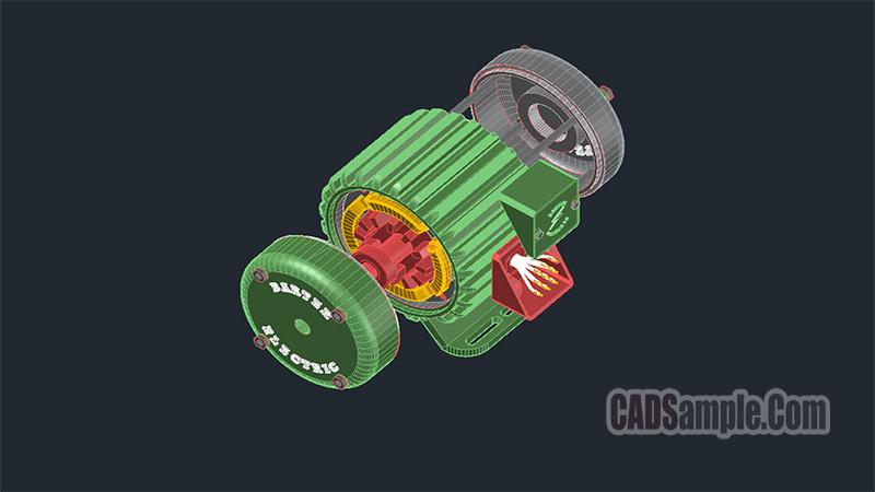 Asynchronous Motor 3D Autocad Dwg