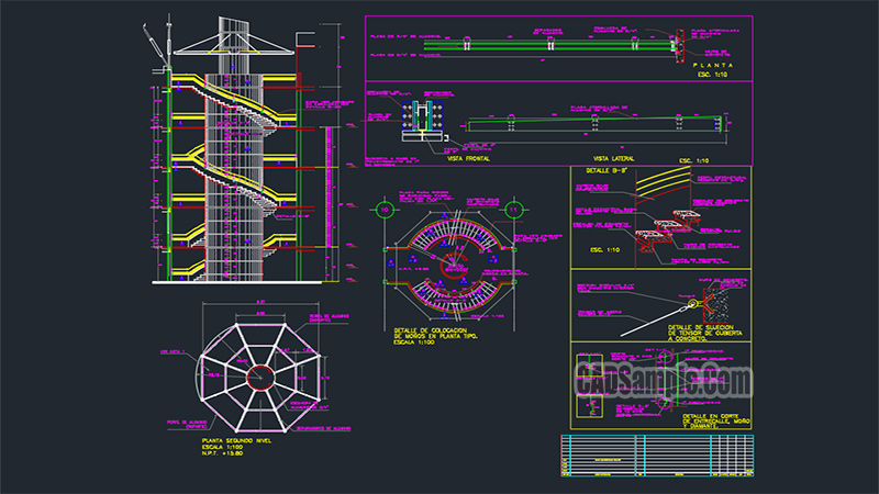 Helical Staircase Free Dwg Drawing