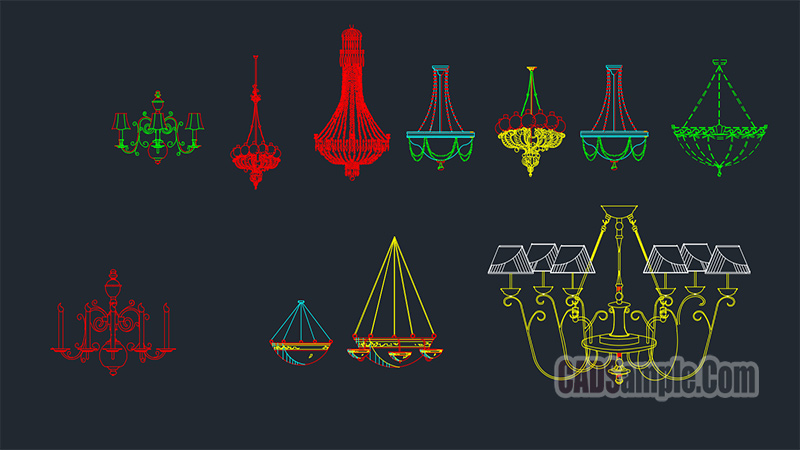 Chandelier Module Cad Blocks Drawings
