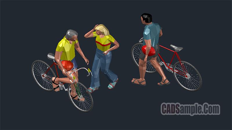 Cycling People 3D Models Cad Blocks Drawings