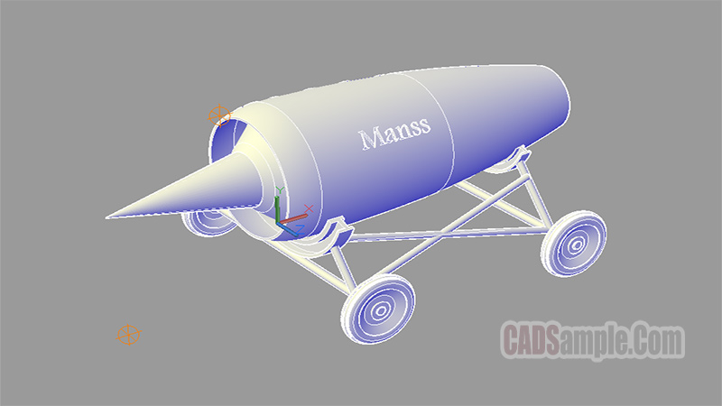 Jet Engine Autocad 3D DWG Drawing