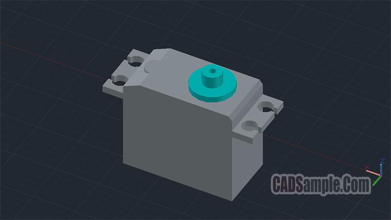 Rc Servo Motor Autocad 3D Dwg Drawing