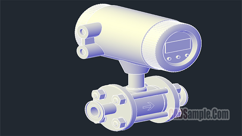 Pneumatic 3D Flowmeter Dwg Drawing
