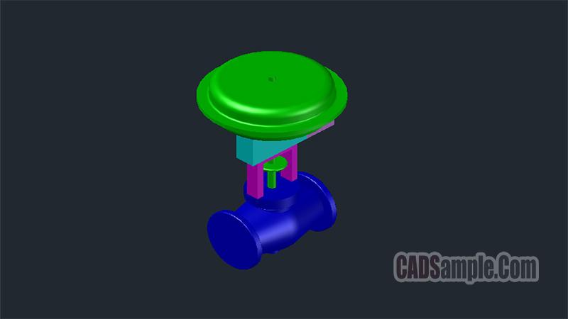 Pneumatic 3D Control Valve Dwg Drawing