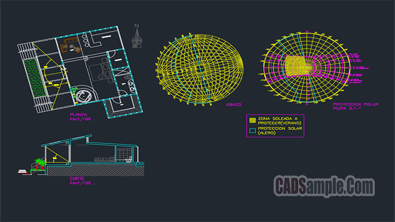 Solar Analysis Of Family House Dwg Drawing