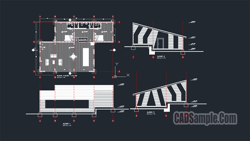 Wooden House Dwg Project